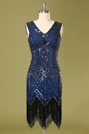 Women Blue Sequins Glitter Bodycon Fringe <b>Vintage 1920s Flapper</b> ...