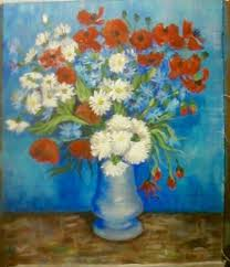 Myra Reeves caught the beautiful vase of cornflowers and poppies by Vincent  Van Gogh. Looks wondrful. This tutorial is available to purchase on  www.gingercook…