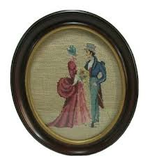 antique framed victorian couple cross