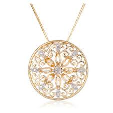 18k yellow gold plated sterling silver gemstone diamond accent filigree medallion pendant necklace