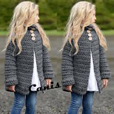 Details About Us Toddler Girls Fall Winter Clothes Button Knitted Sweater Cardigan Cloak Coat