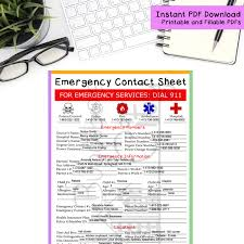 Emergency Contact Sheet Printable And Fillable Pdf Form Etsy