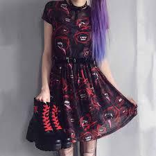 Punk <b>Streetwear</b> Women Mini Skirt <b>2019</b> New Fashion Devil Print ...