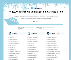 7 Day Cruise Packing List 7 Day Winter Cruise Packing List Ezpacking Inc