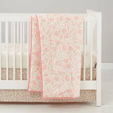 forest themed baby bedding (pink)  the land of nod