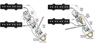 and easy bass mods left series parallel wiring for a j style bass fig 2 right blend pot wiring for a j style bass wiring diagrams courtesy of seymour duncan