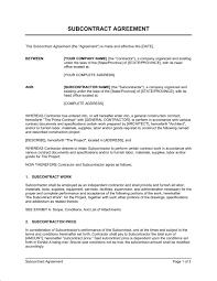 Subcontractor Agreement Format Subcontractor Agreement Template Subcontractor Agreement Template