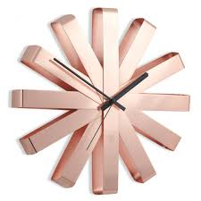 umbra ribbon wall clock copper red