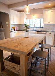 kitchen island table. White Cabinets, Wood Island, Great Pendants, Herringbone Floors, Subway Back Splash...realistic Size For Me. I Like This Kitchen, Not Sure About The Black Kitchen Island Table S