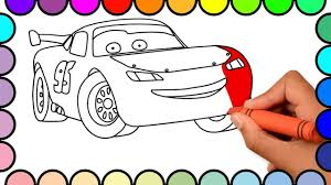 How To Draw Lightning Mcqueen Cars Cars 2 Cartoon Coloring Pages