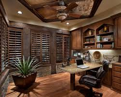 comfy leather office chair office space idea dark brown colored blind windows small potted plant small big office desks