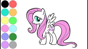 Learn Colors My Little Pony Coloring Page Fluttershy Video ...