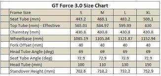 Gt Force 3 0 Xl Size Chart Giantnerd