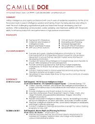 Army Resume Professional Military Intelligence Professional Templates To
