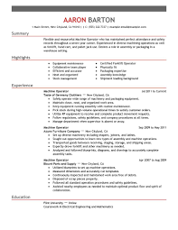Production Machine Operator Resume For Job Description