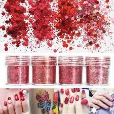 červené Nehty Glitter Powder Sequins Dekorační Tipy 3d Smíšený Prach