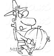 Vector of a Cartoon Pilgrim Man Carrying a Pumpkin - Outlined ...