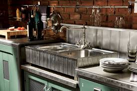 simple vintage imdustrial kitchen featuring rectangle shape