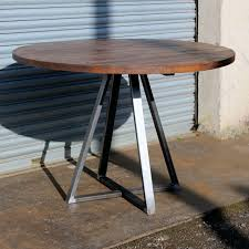 Reclaimed Industrial Round Dining Table Trapeze Frame Metal