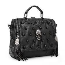 teridiva genuine leather bag women handbag vintage patchwork sheepskin shoulder bags messenger bag rivet tassel punk skull purse hobo handbags italian