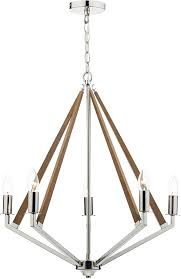 dar hotel modern 5 light dual mount pendant polished nickel