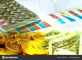 Double Exposure Dollars Banknote Coins Investment Chart