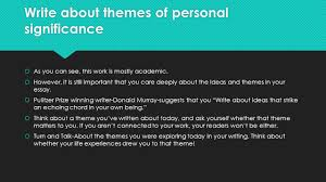 the literary essay argument ppt  write about themes of personal significance