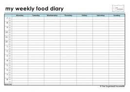 Weekly Food Diary Templates Expin Franklinfire Co