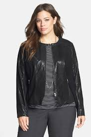 image of halogen halogen r front zip leather jacket plus size