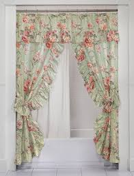 the english rose double swag shower curtain swag throughout shower curtains with valance and tiebacks ideas