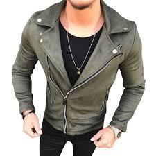 men suede leather jacket fashion lapel zipper slim biker jackets streetwear male hip hop coats outwear