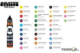 Molotow One4all Color Chart Molotow One4all Refills 30ml Toswos Be