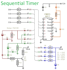how to build a sequential timer using a cmos 4017 Residential Electrical Wiring Diagrams at 4017 Wiring Diagram