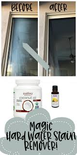 do you have hard water stains on your windows or shower glass doors i have something that will remove it without disgusting chemicals