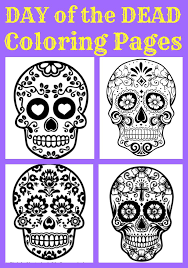 Small Picture Day of the Dead Coloring Pages for Kids GREAT for 3D Activities