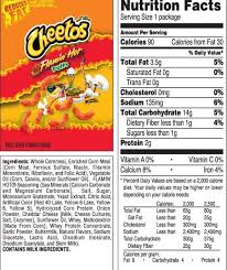 snack nutrition healthy fundraising solutions regarding hot cheetos food label