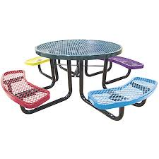 kids round picnic table expanded metal