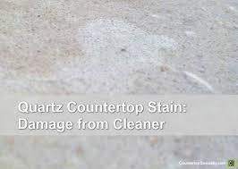 white quartz countertop stain bleached out from chemical damage