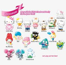 In this coloring page you will find hello kitty as an angel, a sweets seller, a ballerina, and more! Characters Many Of Hello Kitty S Friends And Family Hello Kitty Family Characters Transparent Png 1012x928 Free Download On Nicepng