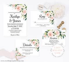 Printable Wedding Invitation Printable Wedding Invitation Template Sets Edit Now In Your