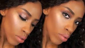 summer brown smokey eye peach lips makeup on dark skin you