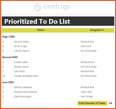 Priority List Templates 6 Priority List Template Survey Template Words