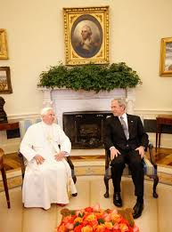 george bush oval office. Photo: President George Bush And His Holiness Pope Benedict XVI In The Oval Office
