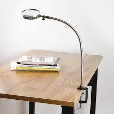 lamp magnifier flexible neck magnifying desk table clamp plastic magnifying desk lamp