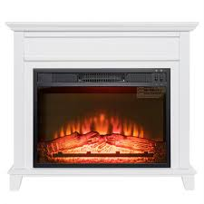 freestanding electric fireplace insert heater in white