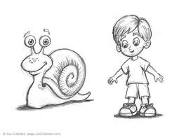 here are some sketches of the main characters a garden snail and the boy who lives in the house nearby along with a few preliminary sketches of the