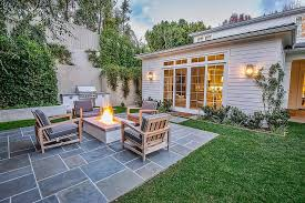 deck patio with fire pit. Rectangular Concrete Fire Pit Surrounded By Gray Outdoor Chairs Deck Patio With