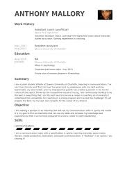 assistant coach unofficial resume samples sales coach resume