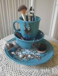 diy makeup organizing ideas old dinnerware projects for makeup drawer box storage
