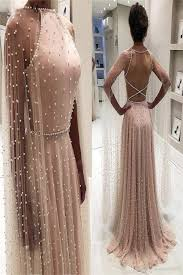 Backless Design 2019 Latest Design Pink Backless Sexy Evening Dresses 2019 Pearls Sleeveless Shawl Evening Gowns Plus Size